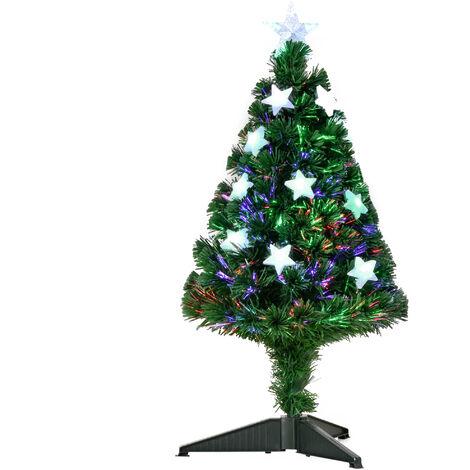 Sapin de Noël artificiel lumineux fibre optique LED multicolore + support pied Ø 45 x 90H cm 90 branches étoile sommet brillante vert