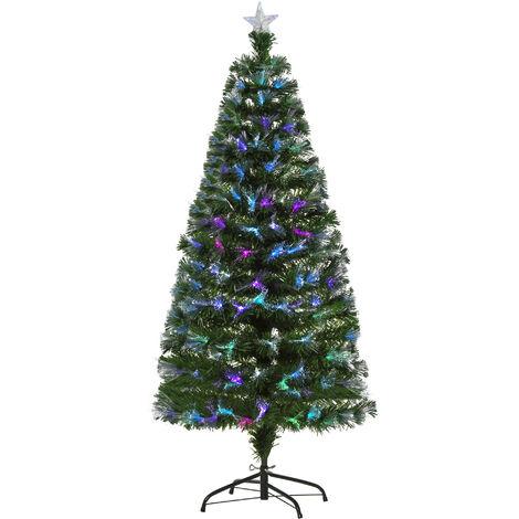 Sapin de Noël artificiel lumineux fibre optique LED multicolore + support pied Ø 74 x 150H cm 180 branches étoile sommet brillante vert