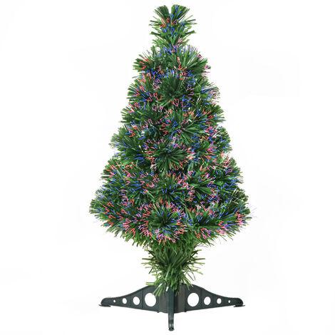 Sapin de Noël artificiel lumineux fibre optique multicolore + support pied Ø 35 x 60H cm 55 branches vert - Vert