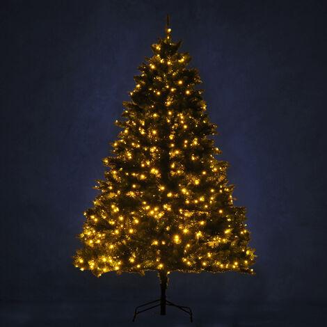 Sapin de Noël artificiel lumineux LED x 650 blanc chaud + support pied Ø 127 x 200H cm 1880 branches vert