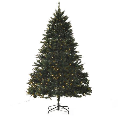 Sapin de Noël artificiel lumineux LED x 700 blanc chaud + support pied Ø 132 x 210H cm 2154 branches vert