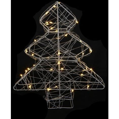 Sapin de Noël artificiel Métal - 40 LED - 25 x 6 x 30 cm - Blanc chaud Generique