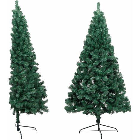 Sapin de Noël artificiel moitié avec support Vert 210 cm PVC
