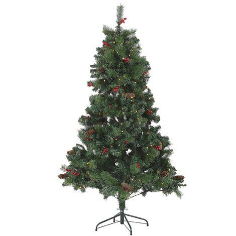 Sapin de Noël artificiel vert pré-illuminé 180 cm JACINTO