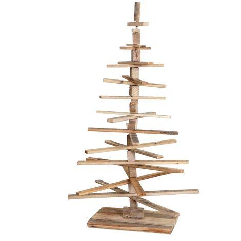 Sapin de Noel décoratif HHG-029, arbre de Noel 3D, aspect shabby, bois de sapin réglable 130x82x82cm