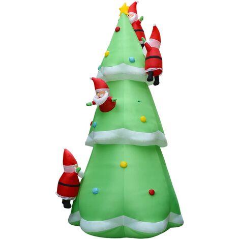 Sapin de Noël gonflable avec Père Noël LED IP44 500cm XXL Tissu