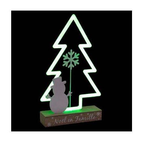 Sapin de Noël lumineux - L 21,5 cm x l 5,7 cm - Vert - Livraison gratuite