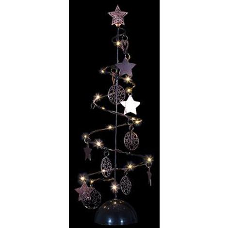 Sapin De Noël Lumineux Spirale Noir 15 Led Blanc Chaud Dim D14 X H45cm Pegane
