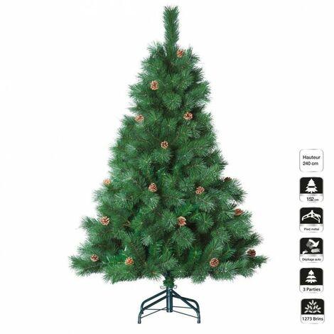 Sapin de Noël vert 240 cm de hauteur avec pomme de pins - Vert