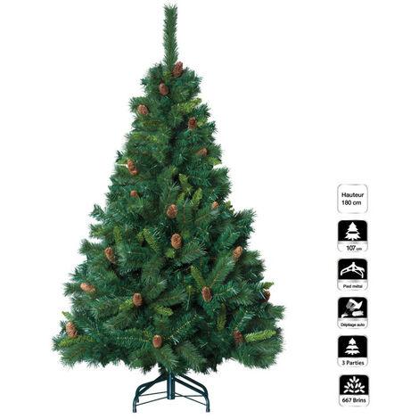 Sapin de Noël vert MAJESTIC 180 cm avec pommes de pin - Vert