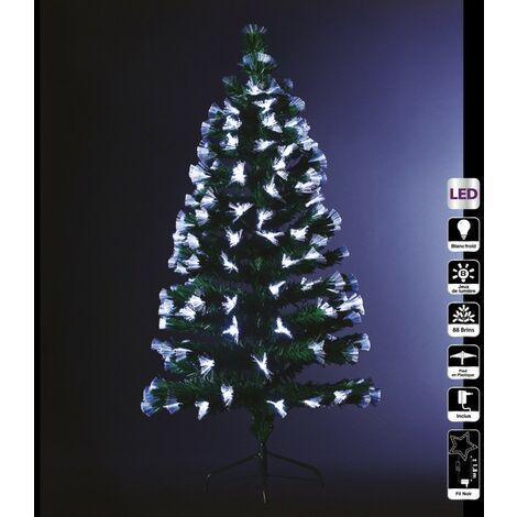 Sapin vert lumineux 90 cm fibre optique - Vert