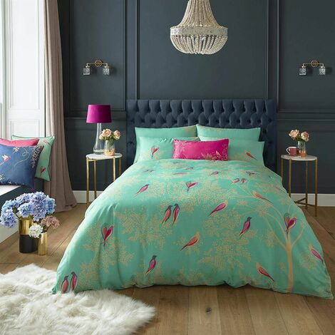 Sara Miller Bedding Green Birds Double Duvet Cover Set