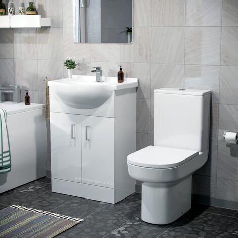 Sarn 550mm Vanity Basin Unit & Close Coupled Toilet White