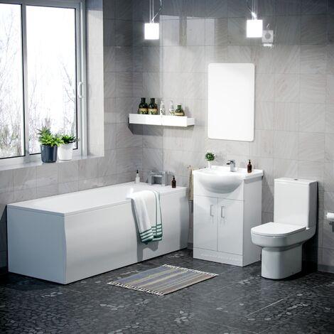 Sarn Bathroom Basin Vanity Unit, Toilet and Bath Suite White