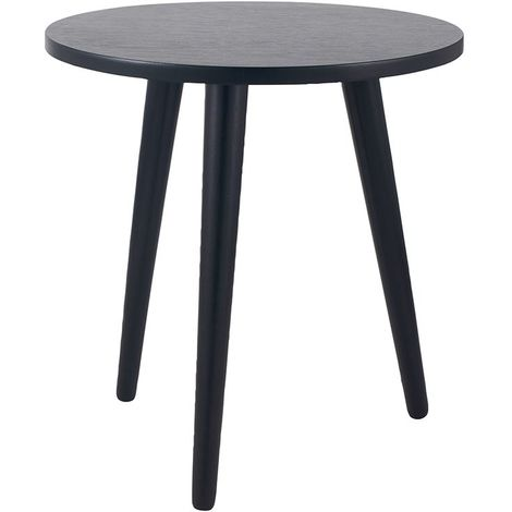 Satin Black Pine Wood Round Side Table K/D