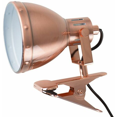 Satin Copper Domed Adjustable Clip On Spotlight + 4W LED Golfball Bulb - Warm White