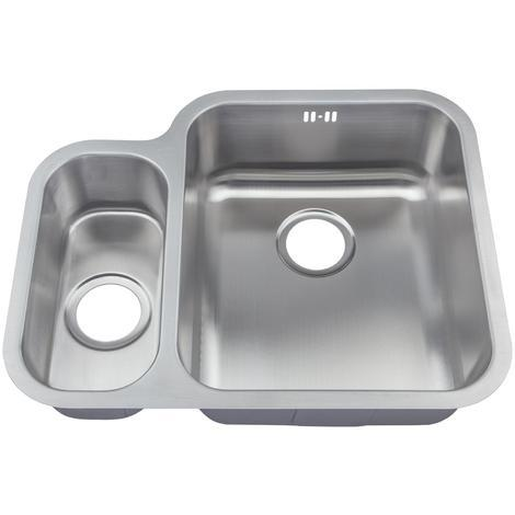 Satin Finish Stainless Steel 1.5 Bowl Under Mount Kitchen Sink D12R