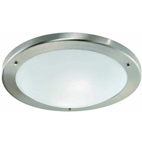 Satin nickel bathroom ceiling light 2 Bulbs