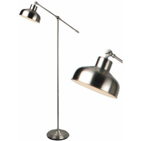 Satin Nickel or Antique Copper Lever Arm Adjustable Floor Light Standing Lamp
