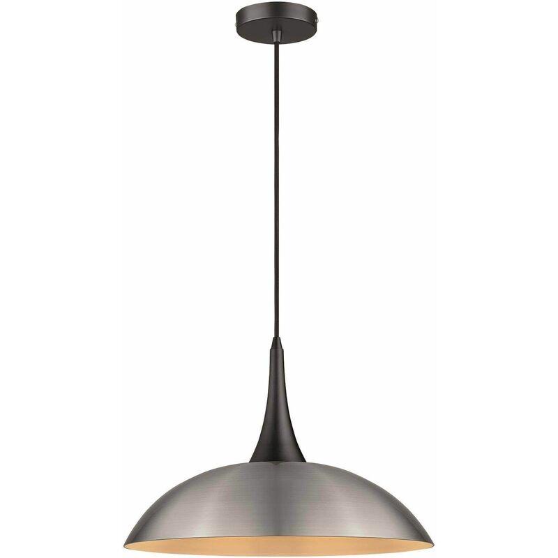 Image of 1 Light Dome Ceiling Pendant Black, Satin Nickel, E27 - Spring Lighting