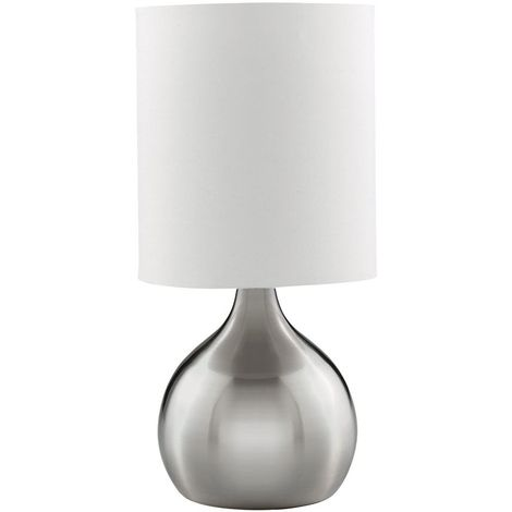 Satin Silver Base/White Drum Shade Modern Style Touch Table Lamp