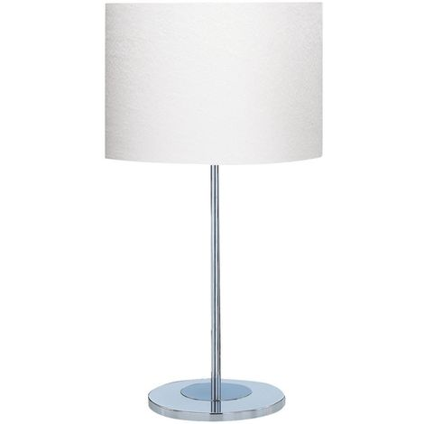 Satin Silver Chrome Round Base Table Lamp - White Fabric Drum Shade