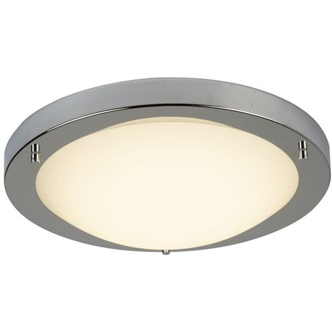 SATIN SILVER LED FLUSH FITTING, OPAL GLASS, 12W