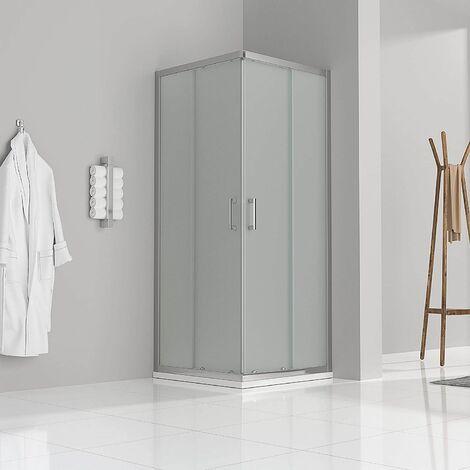Satinierte Duschkabine mit Schiebetüren Eckdusche mit Rollensystem aus ESG Glas 185cm Hoch DK77