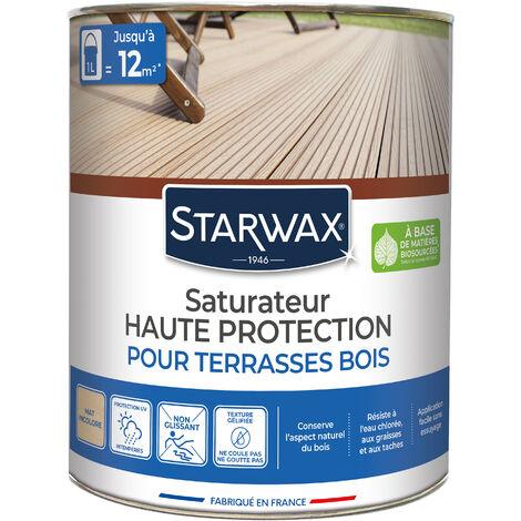Saturateur application facile pour terrasses et bois extérieurs incolore 1L STARWAX - Incolore