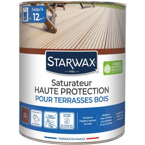 Saturateur application facile pour terrasses et bois extérieurs teck 1L STARWAX - Teck