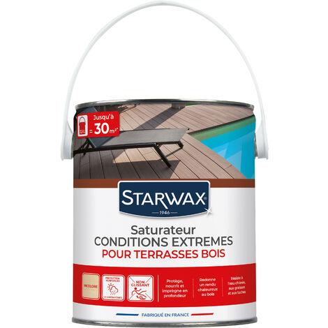 Saturateur haute protection pour terrasses en bois teinte incolore 1L STARWAX