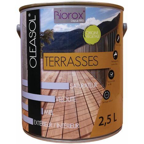 Saturateur pour bois extérieurs origine végétale 2 en 1 terrasses Oleasol 2.5 litres
