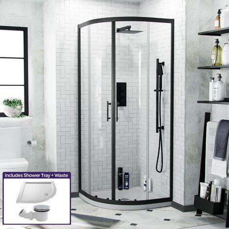 Saturn Black Quadrant 1850 x 770 Corner Shower Enclosure & Tray