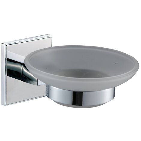 Saturn Chrome Glass Soap Dish & Holder