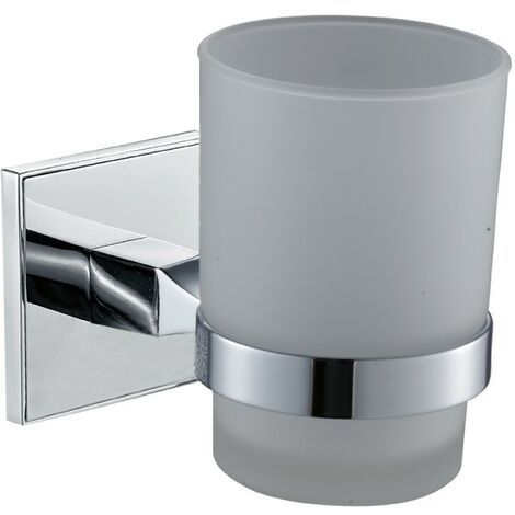 Saturn Chrome Glass Toothbrush Tumbler & Holder