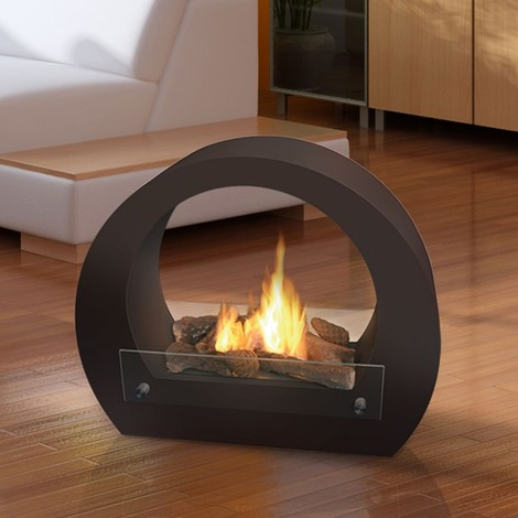 Saturn est une cheminée de sol ultra design utilisation intérieur et exterieur