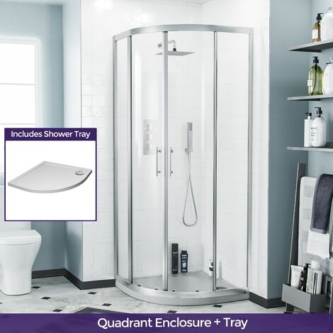 Saturn Quadrant 80 mm Curved Corner Shower Enclosure and Low Profile Tray