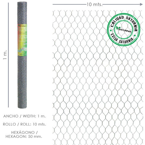 SATURNIA Enrejado Triple Torsion 50 / Ancho 100 cm. Rollo 10 Metros Uso Domestico