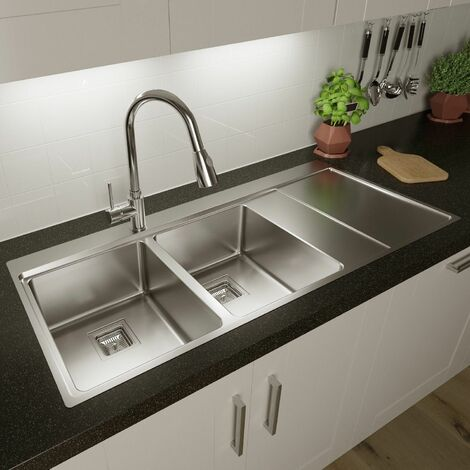 Sauber 2 Bowl Square Inset Stainless Steel Kitchen Sink Right Hand Drainer