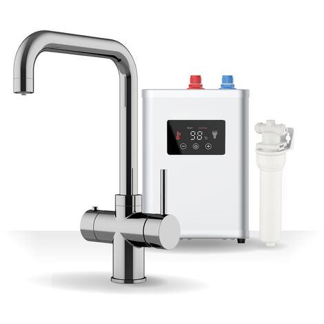 Sauber 3 in 1 Instant Hot Cold Boiling Water Kitchen Tap Filter Tank Chrome
