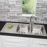 Sauber Inset Stainless Steel Sink - 2 Bowl & Cascade Tap