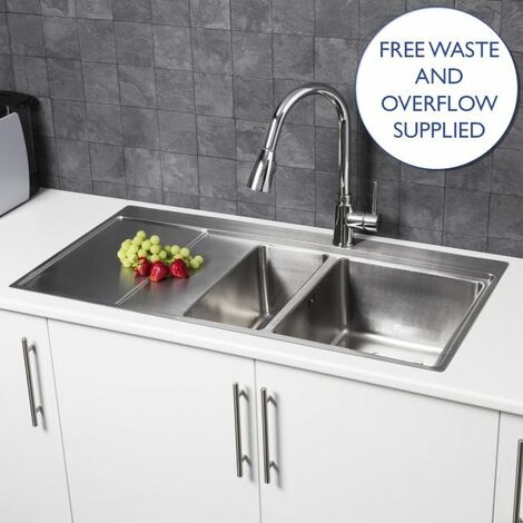 Sauber Modern Stainless Steel Kitchen Sink 1.5 Bowl LH Drainer Square Waste Kit