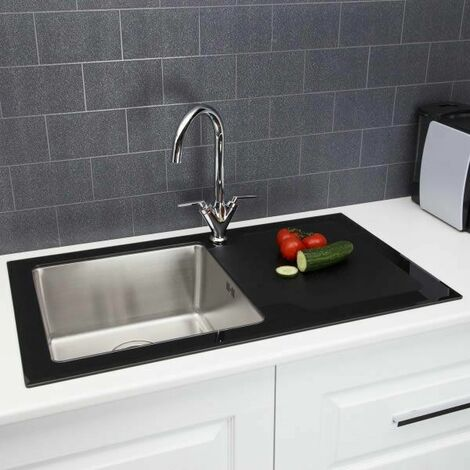 Sauber Modern Stainless Steel Single Bowl Kitchen Sink Black Glass Surround