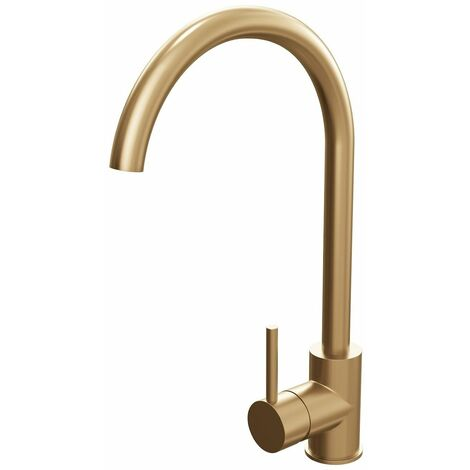 Sauber Saxony Kitchen Mixer Tap Brushed Gold Curved Stylish Single Lever