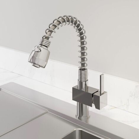 Sauber Square Handle Kitchen Mixer Tap with Pull Out Spray