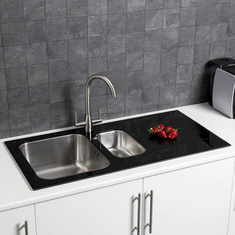 Sauber Stainless Steel Kitchen Sink 1.5 Bowl Black Glass Surround RH