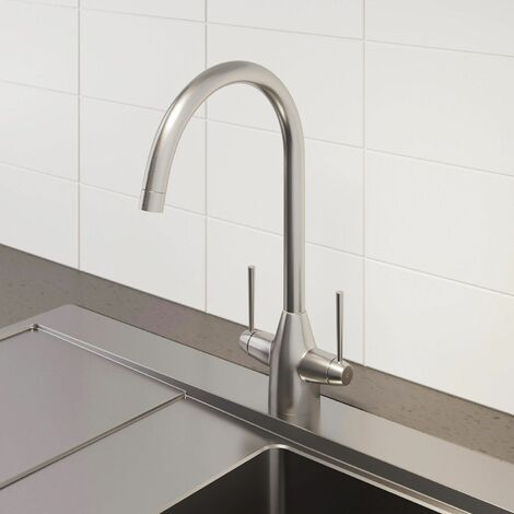 Sauber Vevey Brushed Kitchen Mixer Tap