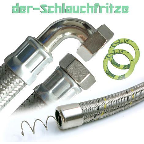 """Saugschlauch, Druckschlauch 1""""ÜM x 1""""ÜM mit 90°Bogen, Pumpenschlauch 30cm / 300mm"""