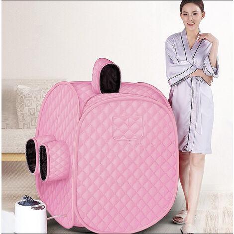 Sauna A Vapeur Portable Mobile Cabine de Sauna pour 2 Personnes — La Désintoxication et la Perte de Poid — 2.5L 80X80X100cm 1000W Rose - Rose