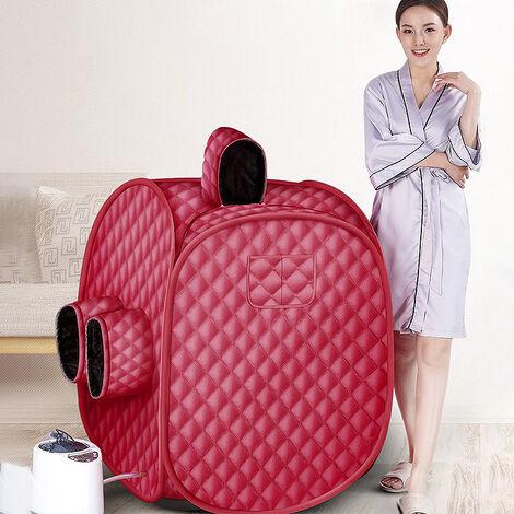 Sauna A Vapeur Portable Mobile Cabine de Sauna pour 2 Personnes — La Désintoxication et la Perte de Poid — 2.5L 80X80X100cm 1000W Rouge